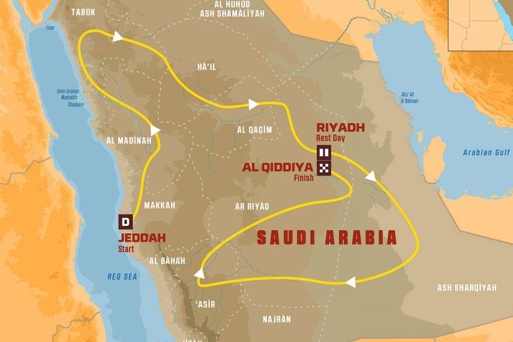 Trazado del rally Dakar 2020 en Arabia Saudí